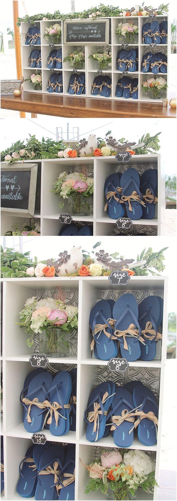 little miss lovely floral design // rehoboth beach de wedding // flip flop station for beach wedding