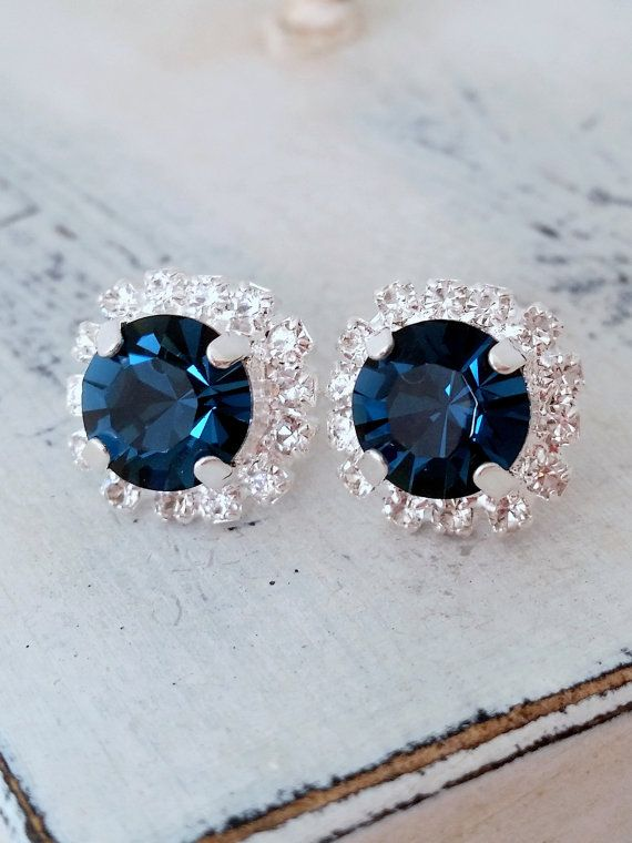 Navy blue Swarovski crystal stud earrings by EldorTinaJewelry | Navy blue wedding | something blue | navy crystals earrings | Deep blue studs | http://etsy.me/1CGDzjp | https://www.etsy.com/il-en/shop/EldorTinaJewelry?ref=hdr_shop_menu