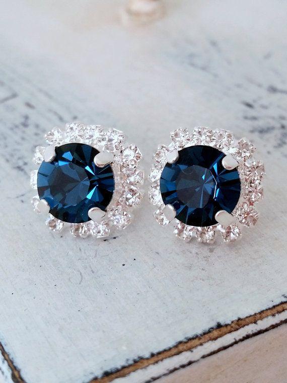 Navy blue Swarovski crystal stud earrings by EldorTinaJewelry | Navy blue wedding | something blue | navy crystals earrings | Deep blue studs | http://etsy.me/1CGDzjp | https://www.etsy.com/il-en/shop/EldorTinaJewelry?ref=hdr_shop_menu