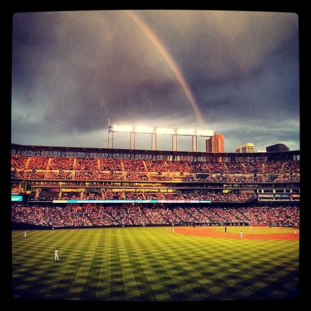 A rainbow over Coors Field