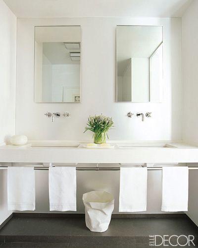 Simple white boys bathroom home is where the heart is for Elle decor bathroom ideas