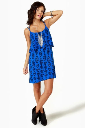 Volcom Mag Pie Dress - Blue Dress - Print Dress - $45.00