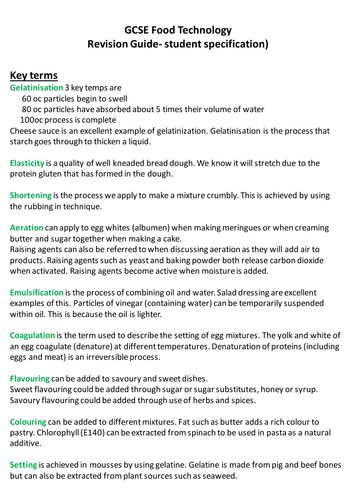 Food Tech GCSE AQA student friendly specification. 2017 revision essential