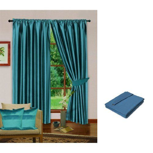 Blue Luxury Faux Silk Curtains, Fully Lined with Tiebacks (Designer Collection) (66 x 90 inch (170cm x 229cm) drop) (Blue) by Universal Textiles. $47.45. Curtains are extremely long lasting and will enhance the elegance of any room.. This product is exclusive to Universal Textiles.. (Pack of 2) Premium quality faux silk curtains with matching tiebacks produced from the highest quality soft touch faux silk fabric.. Curtains are 100% Polyester Faux Silk, Lining 80%...