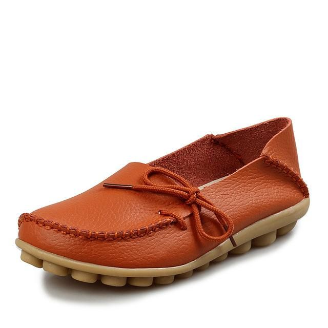 Women Four Seasons Flat Boat Shoes Leather Slip on Outsole Moccasins Loafers