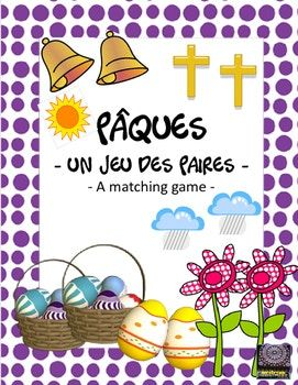 """FRENCH - This """"matching game"""" is played in groups of about 5 students and can be played as a shorter game or a longer one depending upon how many """"cards"""" you plan to copy for each group of students. There are 24 pairs of Pâques related picture cards to use. Vocabulary is written on each card to help with vocabulary development."""