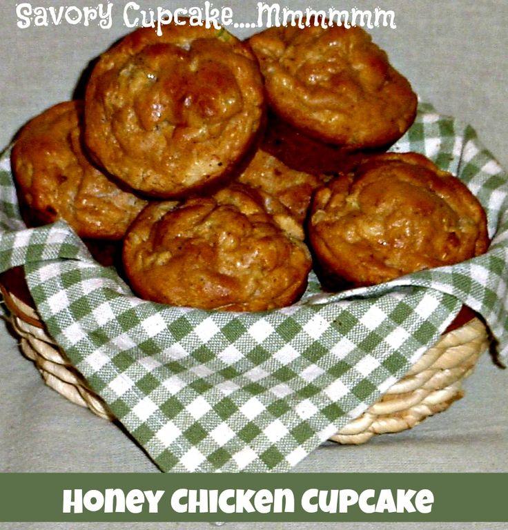 Savory Honey Chicken Cupcake, perfect breakfast time treat. #breakfast #chicken