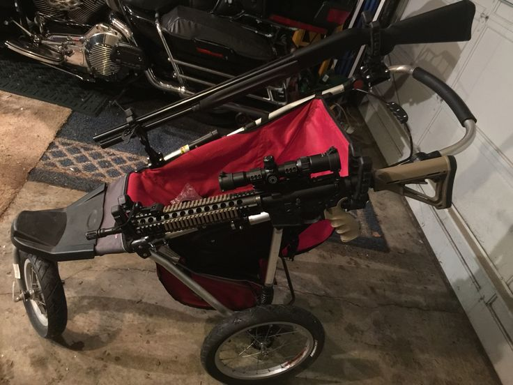 Picked up a cheap jogging stroller to use as a 3 gun cart... 20 bucks for the stroller and added a couple ATV gun racks...