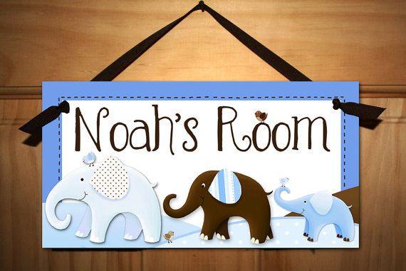 Blue and Brown elephant door sign.