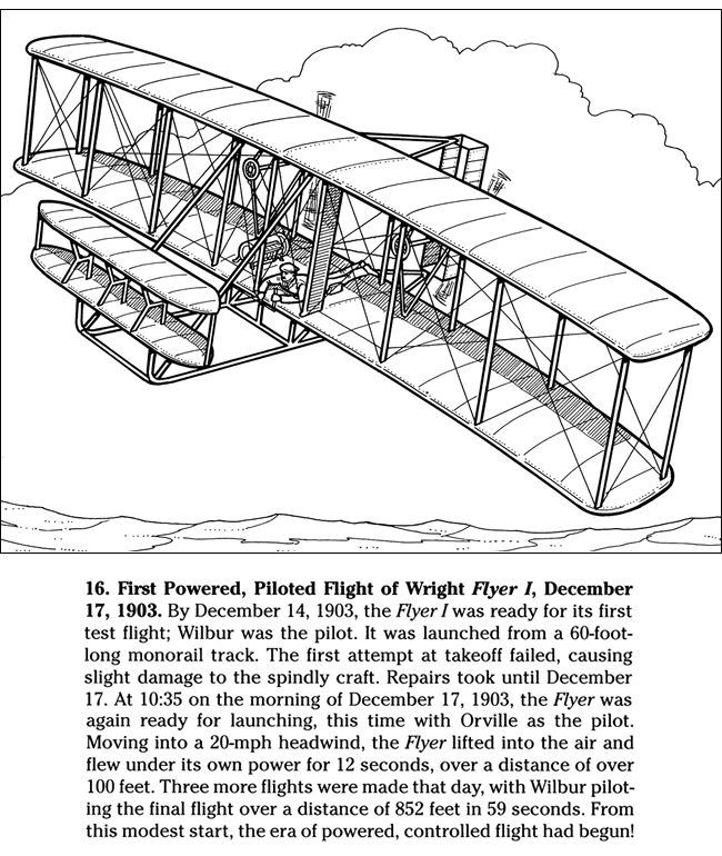 The Story Of The Wright Brothers Dover Publications Coloring The