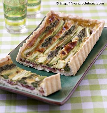 Tarte aux asperges vertes et bresaola - Recettes de cuisine Ôdélices