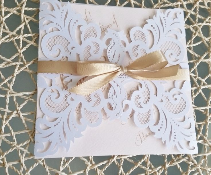 Whte Laser Cut invitatation card with pink blush and gold insert and ribbon by LKsInvitations on Etsy