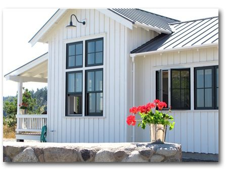 Vertical board batten stone dark windows ideas for Pictures of houses with board and batten siding