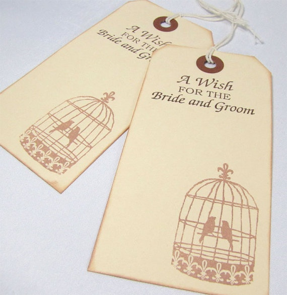 Wedding Wish Tree Tags - Bird Cage Design  Put own stamp in light yellow in ivory tags with yellow ribbon