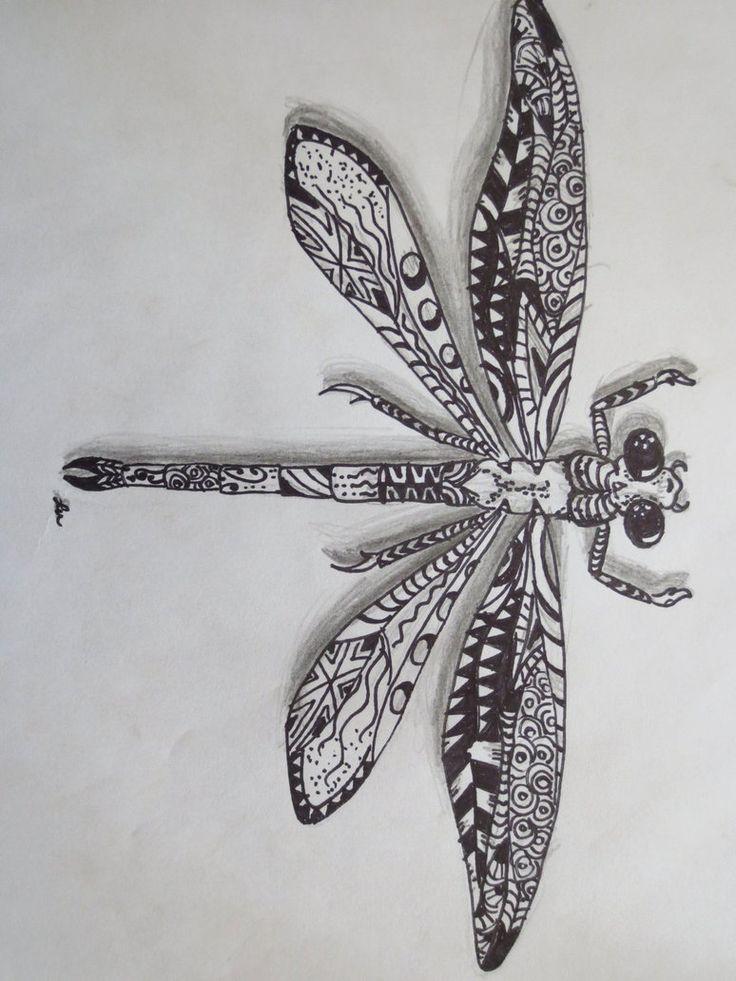 Zentangle dragonfly by ~luzilla