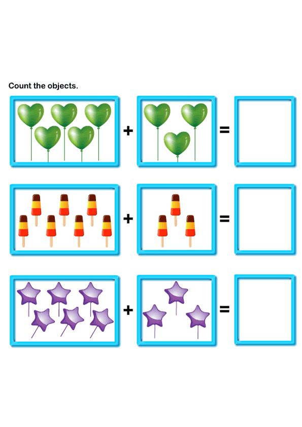 Picture Addition Worksheets, Learn to Add, Math Worksheets, Free Printable Worksheets for Kids.