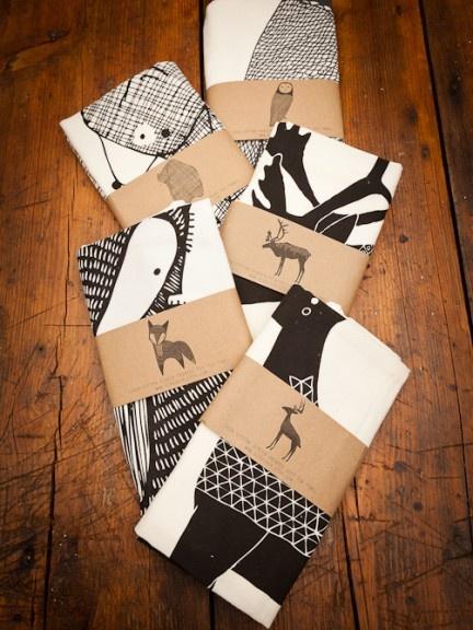 Screen Printed Animal Tea towels