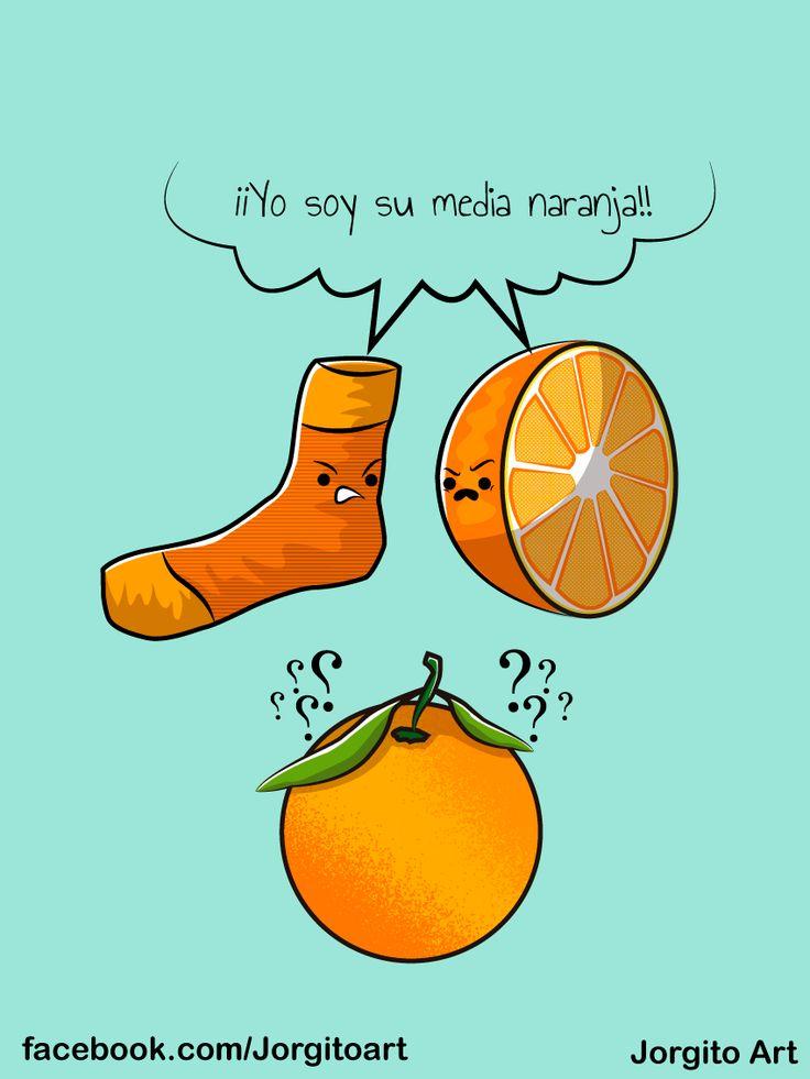 Media naranja #Diseñosparacamisetas #facebook.com/Jorgitoart