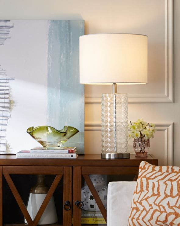 Check out the beautiful studded glass CANVAS Sonia Table Lamp. For more sophisticated ideas, visit our new CANVAS Lighting Collection.