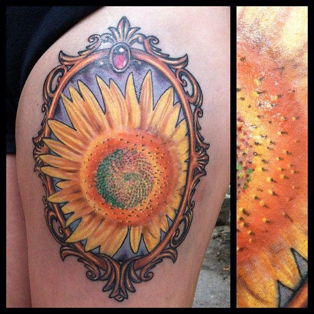 Victorian Frame Tattoo #sunflower #victorian #frame
