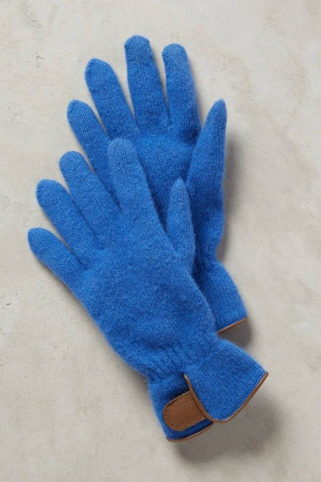 Opt for blue gloves this winter.