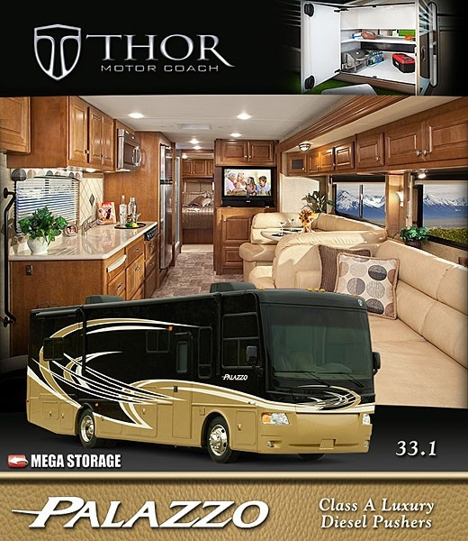2013 palazzo diesel motorhomes a compact class a diesel for Thor motor coach headquarters elkhart in