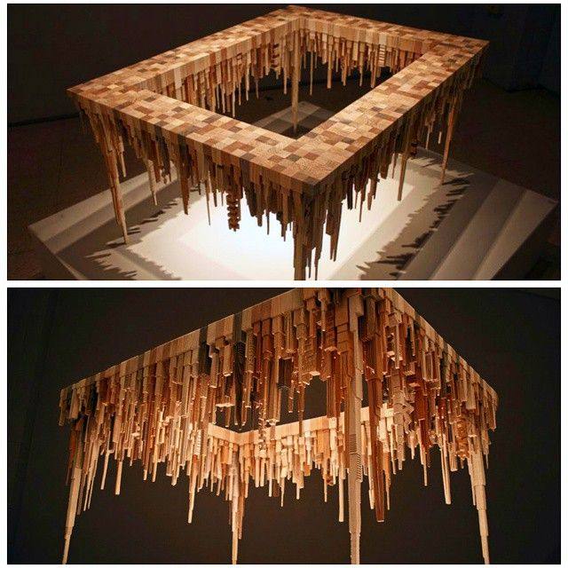 McNabb & Co. Studio created the Dripwood City Table from a variety of scrap woods first sculpted on a bandsaw into abstract city buildings sprouting from cubes of wood. These high-rise cityscape is literally turned upside down presenting the land base as a tabletop and the skyline as stalactites reaching downward.  Chat with us on whatsapp +919004472734. Wechat & Kik id - Designersdome.  Upload your pictures with the #designersdome to get featured.  #India #Interiors #interiordesigner…
