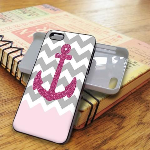 Chevron Glitter Pink Anchor iPhone 5C Case