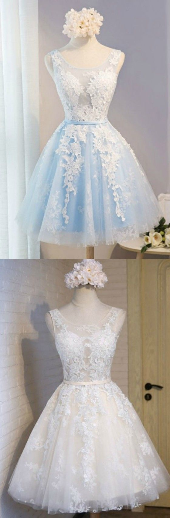Blue/Ivory A-line Scoop Neck Short Tulle Homecoming Dress With Appliques Lace