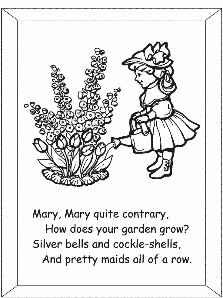 Mary Mary Contrary Nursery Rhyme coloring pages