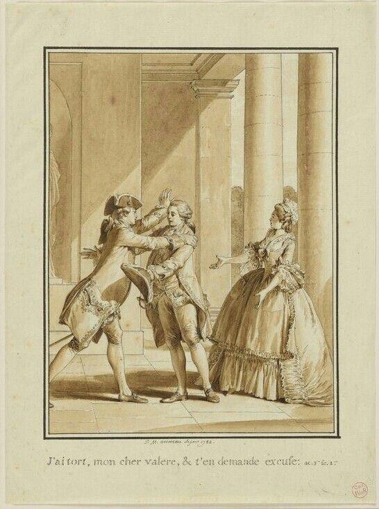 J'ai tord, mon cher Valère, et je t'en demande excuse, 1782 Jean-Michel Moreau, dit le jeune. Illustration pour l'engagement téméraire dans Oeuvres de Jean-Jacques Rousseau