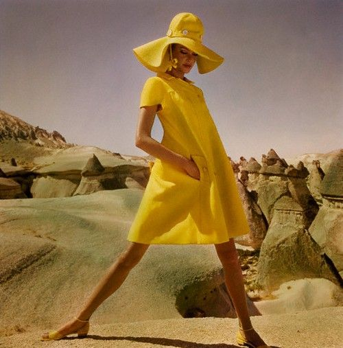 Model wearing a fly-front yellow linen smock by Hannah Troy in Goreme, Turkey,1962. Photo by Henry Clarke.: Style, Vintage Fashion, 1960S Fashion, Hanna Troy, Yellow, Photo, 1960 S