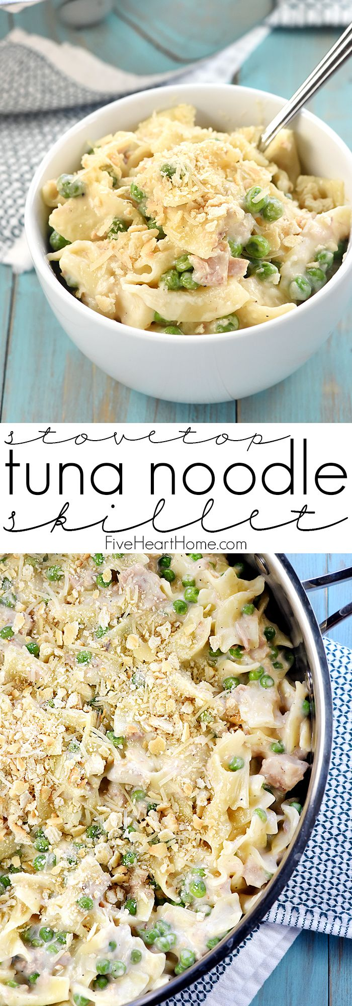 Stovetop Tuna Noodle Casserole Skillet ~ a quick and easy, comforting dinner recipe loaded with tuna, egg noodles, peas, and a creamy, cheesy, from-scratch white sauce!   FiveHeartHome.com
