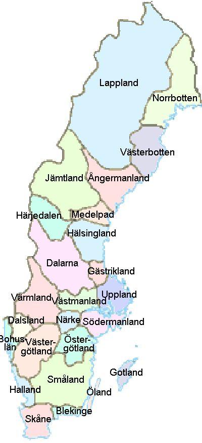 Karte der schwedischen Provinzen