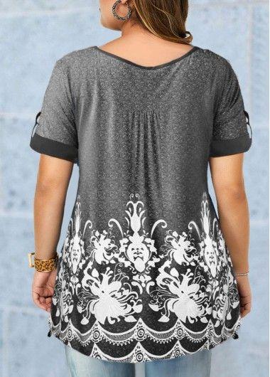 Button Detail Short Sleeve Printed Plus Size Blouse | modlily.com – USD $28.35