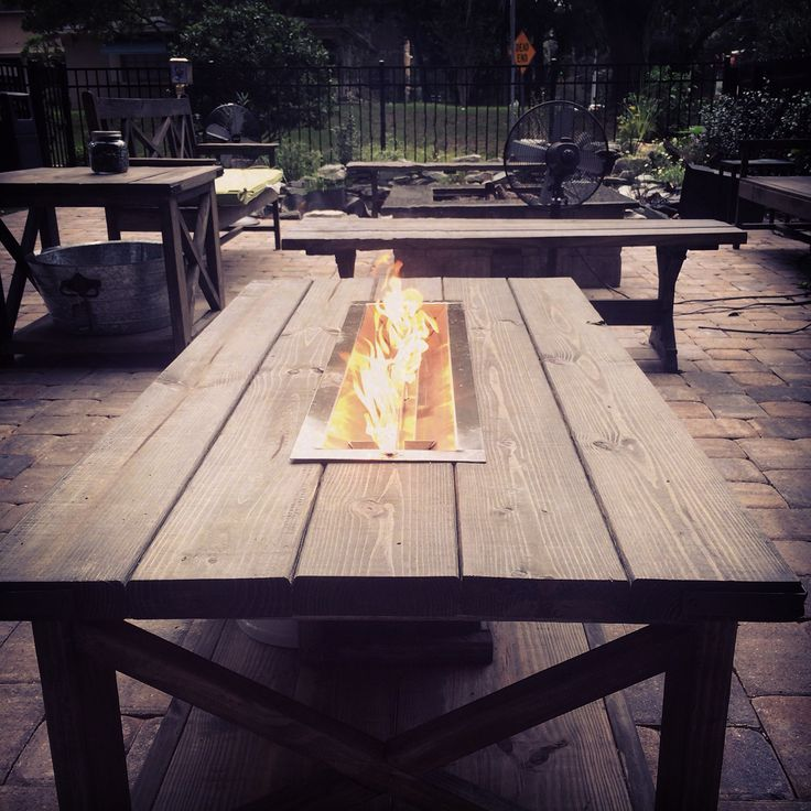 Custom Outdoor Fire Coffee Table With A Center Door For A Propane Tank Fire Glass Missing From