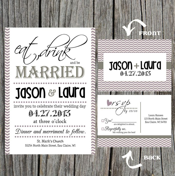 DIY Printable - Eat, Drink and be Married Wedding Invitation with RSVP. $40.00, via Etsy.