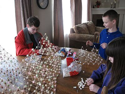 Build a better Pyramid - marshmallows and toothpicks.  I LOVE THIS!!  Could also use gumballs.