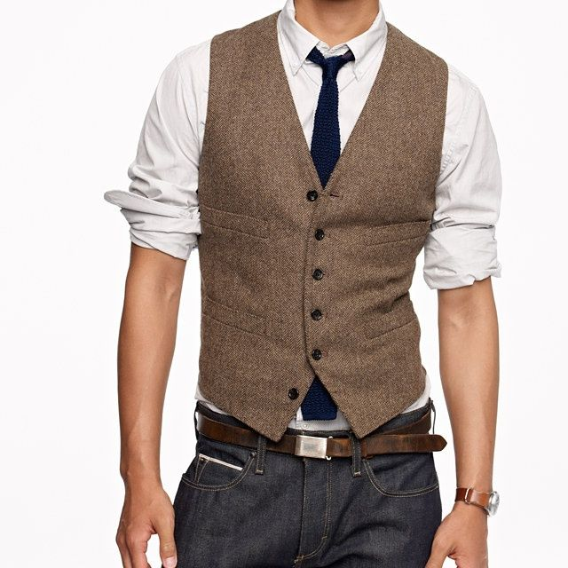 Button-down collars are what's up. Or at least, if you're wearing a vest just make sure the collar doesn't go over your vest.   Ignore the waist-down