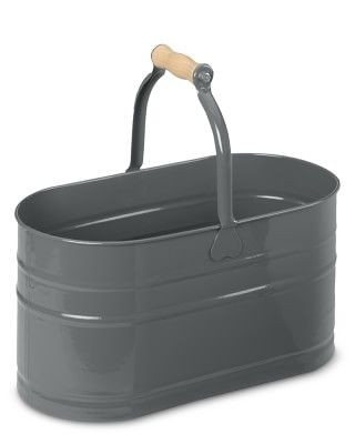 I WILL become the Mom with organic, citrus-herb vinegar homemade cleansers tucked neatly in beautiful metal tubs. Yes, I will. Oval Cleaning Pail with Wooden Handle #williamssonoma