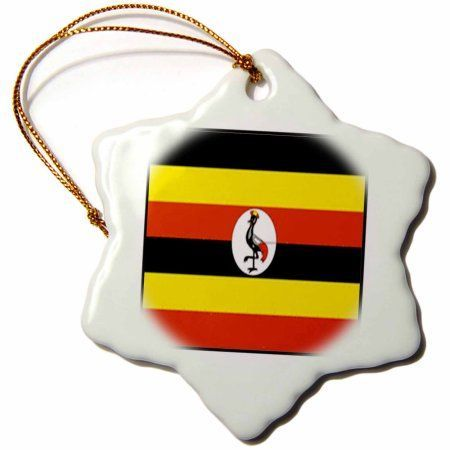 3dRose Photo Of Uganda Flag Button, Snowflake Ornament, Porcelain, 3-inch