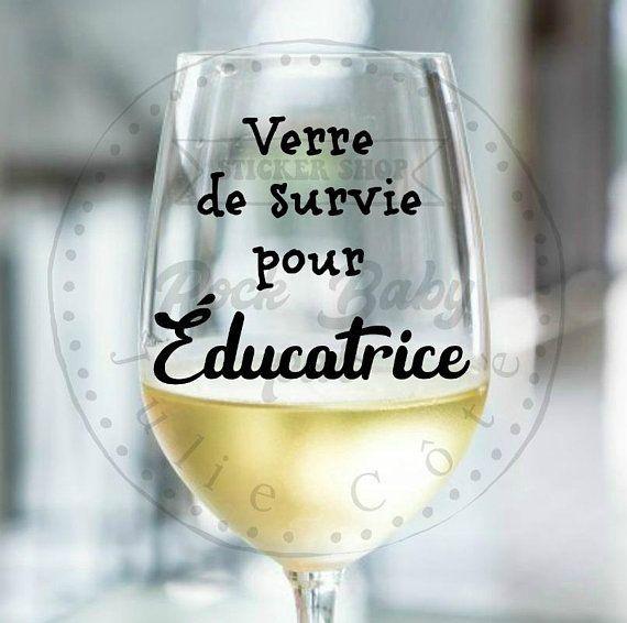 Decalque Pour Tasse Verre De Survie Pour Educatrice Autocollant Verre A Vin Decalque Coupe De Vin Wine Glass Glass Stemless Wine Glass