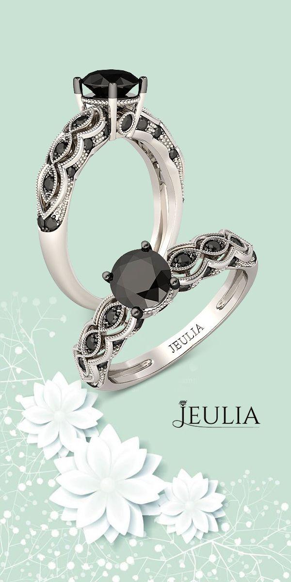 Round Cut Created Black Diamond Rhodium Plated Sterling Silver Bridal Rings #Jeulia