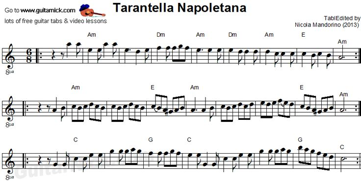 Tarantella Napoletana - flatpicking guitar sheet music