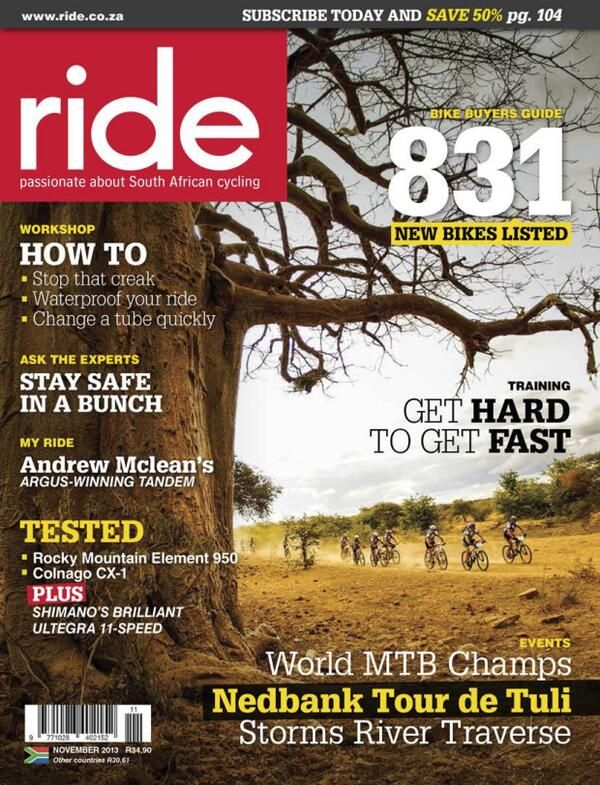 Thank you RIDE magazine for making the Nedbank Tour de Tuli 2013 the cover story for your make-over issue! Photo © Jacques Marais