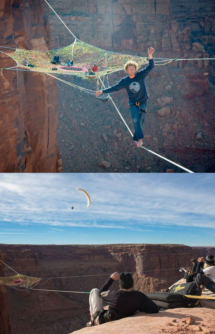 These are adrenelinejunks. They basejump from a huge height. Awesome! Crazy facts. Afraid of heights. Adrenaline. - Froot.nl