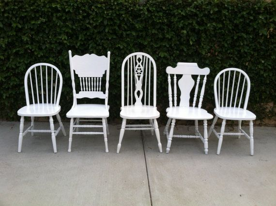 Farmhouse Kitchen Chairs, Set of 5, Dining Chairs, White, Shabby Chic, Mix and Match, Eco-Friendly, Kitchen Chair,(Los Angeles) on Etsy, $795.00