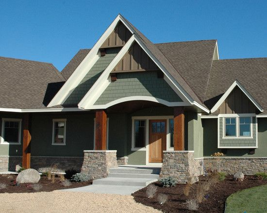 Traditional exterior green wood siding design gable roof for Craftsman roofing