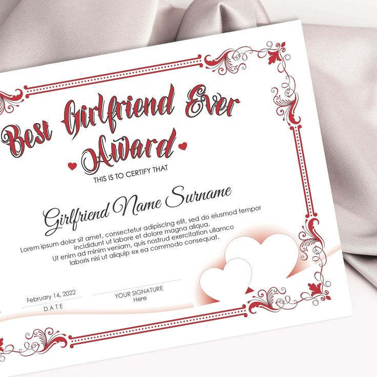 EDITABLE Best Girlfriend Ever Award Template, Valentines