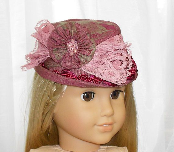 American Girl Doll Clothes - Doll Hat in Cranberry and Rose. $20.00, via Etsy.